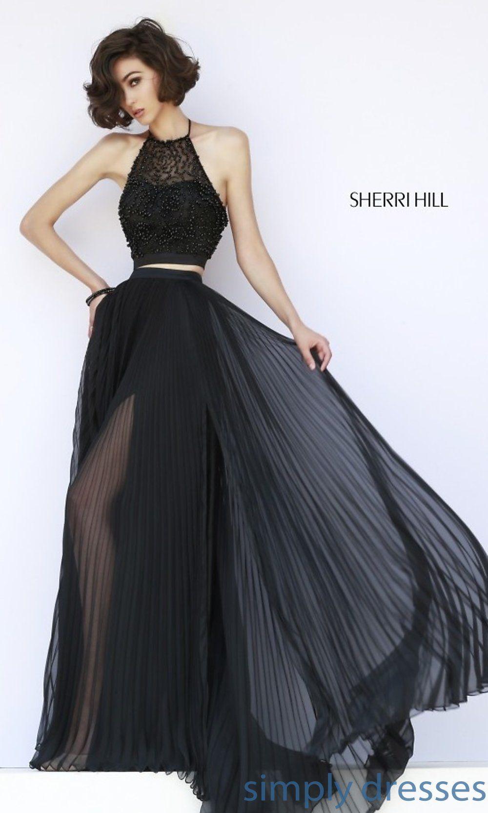 Sherri hill twopiece black pleated long gown fashion pinterest