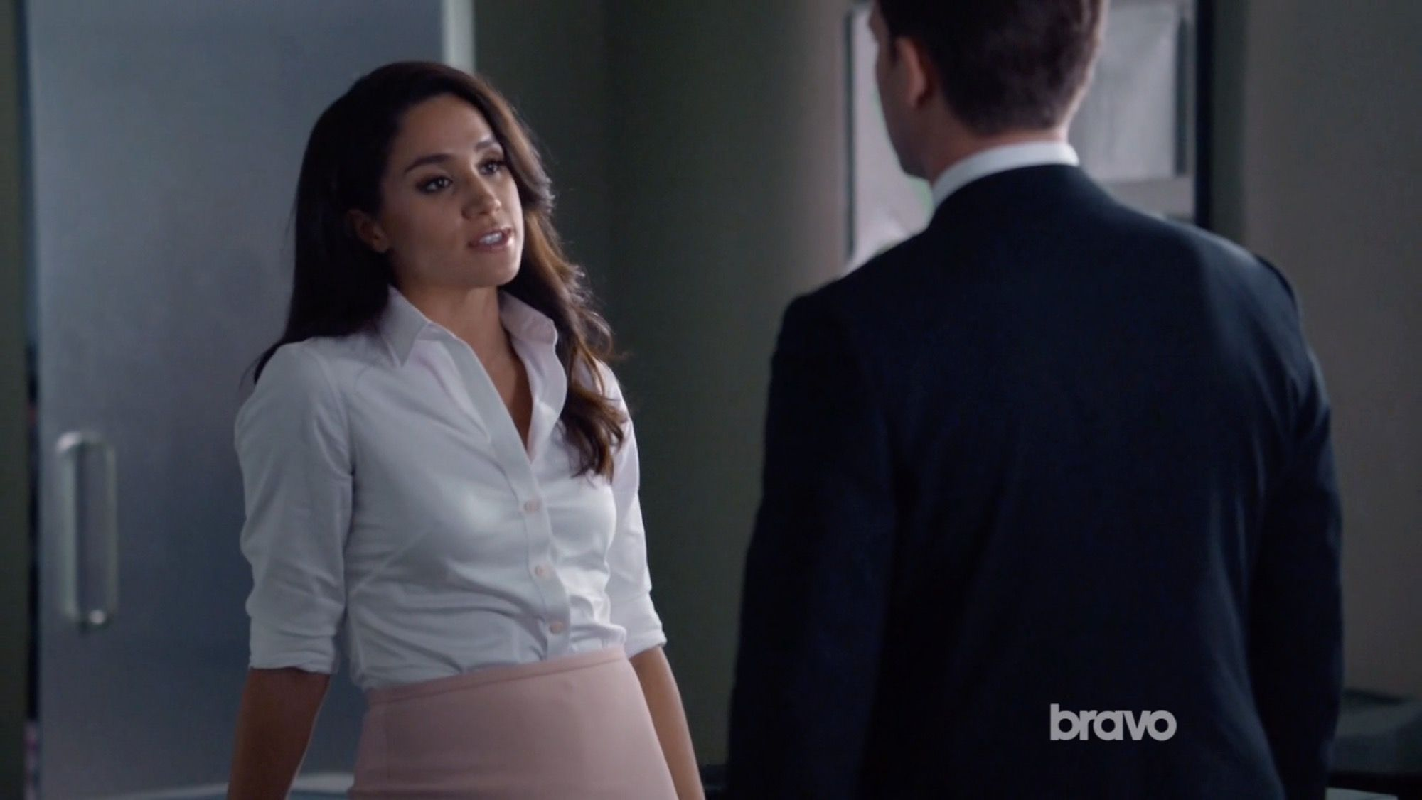 8222a0c4a1 Rachel Zane s White Theory Luxe Tenia Button Down Blouse from Suits -  Season 5 Episode 13