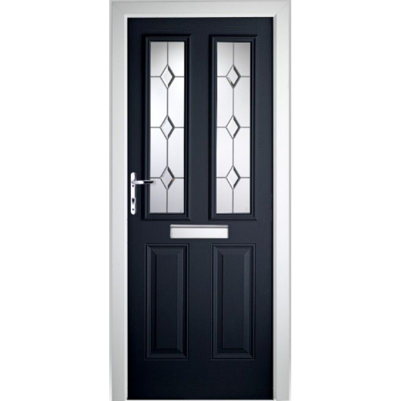 LONDON GLAZED TIMBER EFFECT COMPOSITE FRONT DOOR BLUE (2085MM X ...