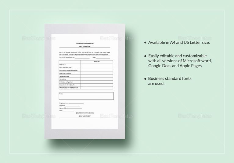 Daily Cash Report Template Accounting Documents Pinterest - microsoft word template report