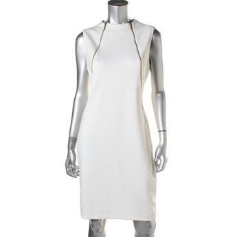 CALVIN KLEIN Robe Ivory Zip Frontal. Taille: