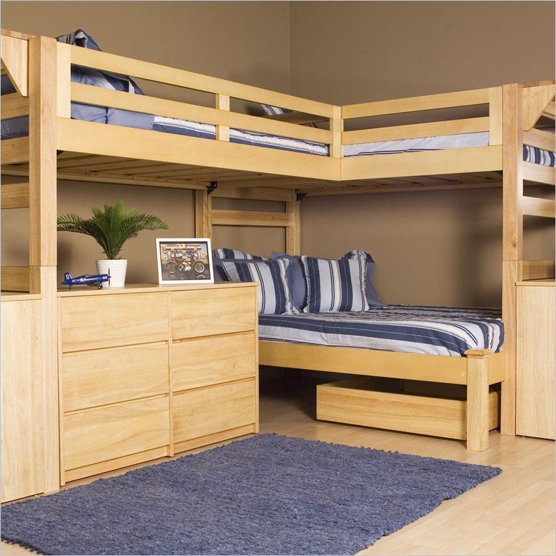 Wooden Triple Lindy Bunk Bed Plans And Designs For Children.would Be Great  With A Queen Bed On The Bottom For The Guest Room.room For Everyone Without  ...