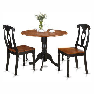 East West Furniture Dublin 3 Piece Drop Leaf Round Dining Table Fair Three Piece Dining Room Set Review
