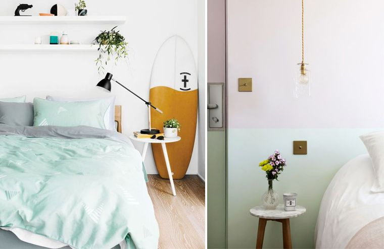 Inspiration couleur Mint pour une chambre à coucher Couleur des - couleur chambre de nuit