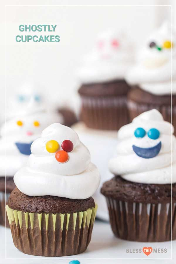 Halloween Ghost Cupcakes Spooky and sweet, these easy Halloween ghost cupcakes are such a treat to enjoy on this fun holiday, and they couldn't be easier to make! If you have little ones, they are going to be head over heels for these adorable ghost cupcakes that come together so quickly and easily!