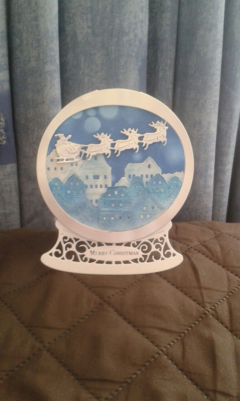 Tattered lace snow globe 2016 … Homemade holiday cards