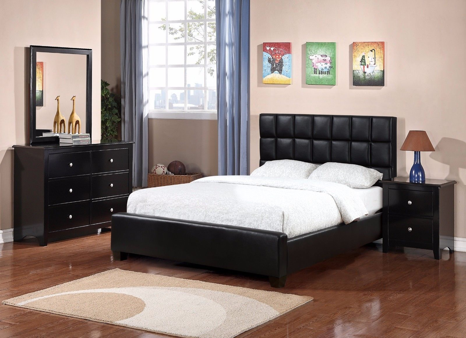 Full Size Bed Pattern Tufted Black Faux Leather Headboard 4Pc Prepossessing Black Queen Bedroom Sets Inspiration