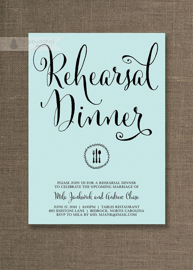 Aqua Blue & Black Rehearsal Dinner Invitation by digibuddhaPaperie