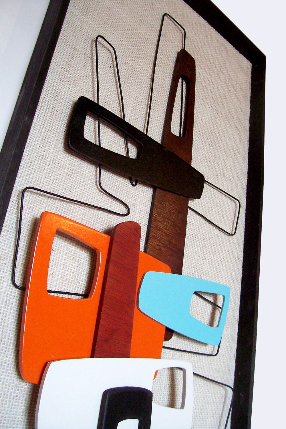 Mid century modern abstract wall art sculpture painting retro eames
