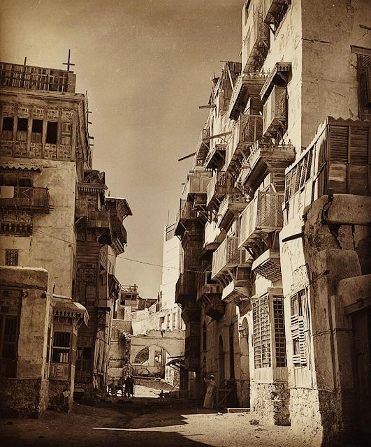 تــاريــخ جــــــدة القديمــة History Of Old Jeddah زقاق سلامة في حارة الشام الصورة في عام 1954 م Jeddah City Old City