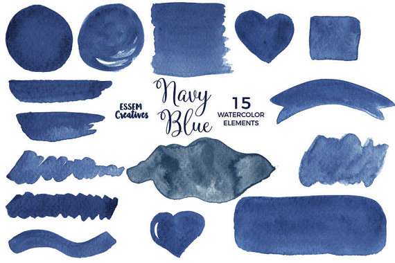 Navy Watercolor Splash Clipart Navy Blue Brush Stroke Ombre
