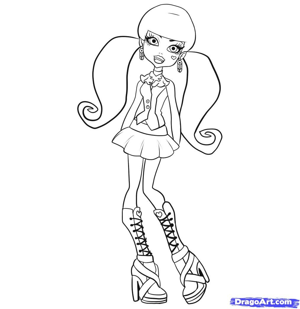 monster high coloring pages for children - Monster Pictures For Kids To Print