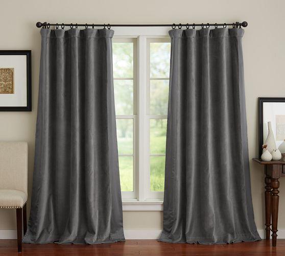 Velvet Silk Border Curtain Curtains Blackout Drapes Home Decor