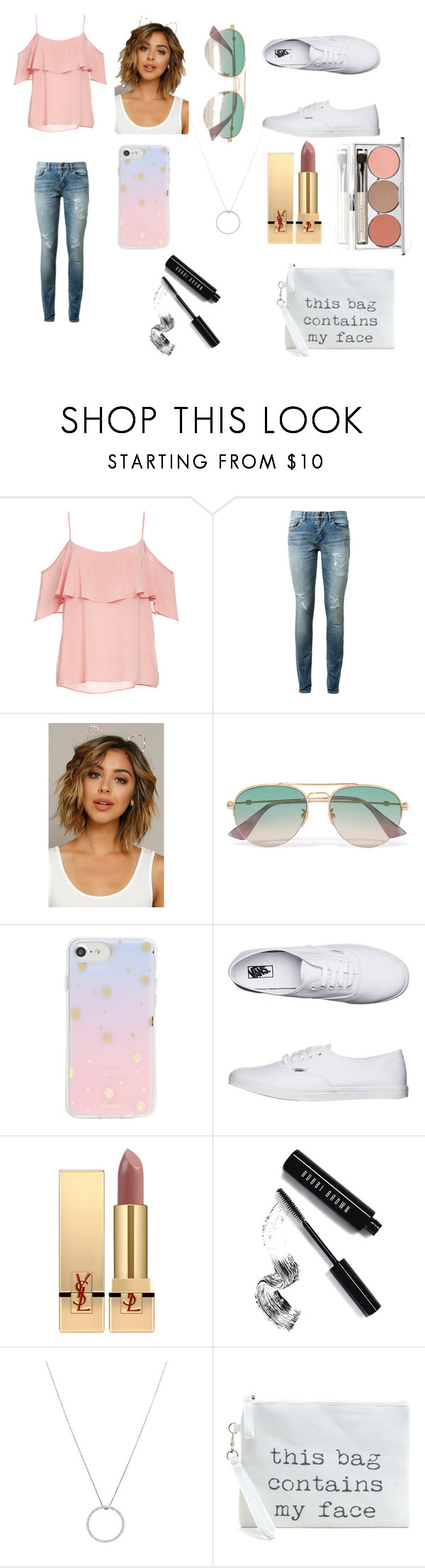 """Untitled #14"" by nightmare-sans on Polyvore featuring BB Dakota, Yves Saint Laurent, Gucci, Sonix, Vans, Bobbi Brown Cosmetics, Roberto Coin and Chantecaille"