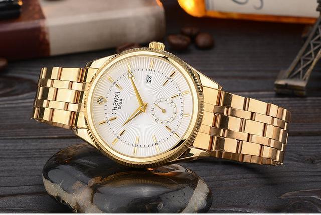 Chenxi Gold Men Watches Top Luxury Wristwatch Clock Golden Quartz