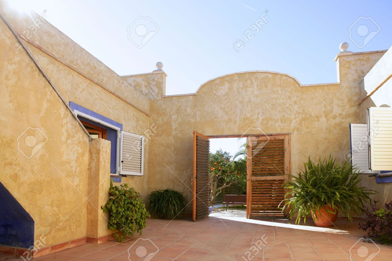 spanish golden wall mediterranean style house nice courtyard