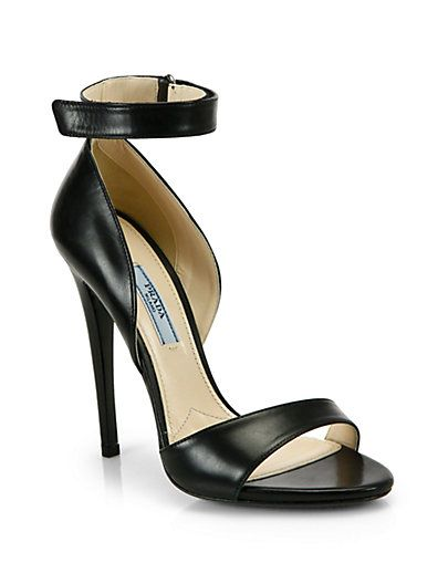Prada - Leather Ankle-Strap Sandals - Saks.com