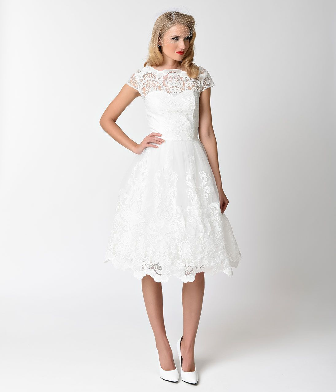 S style white u gold floral embroidered midi swing dress