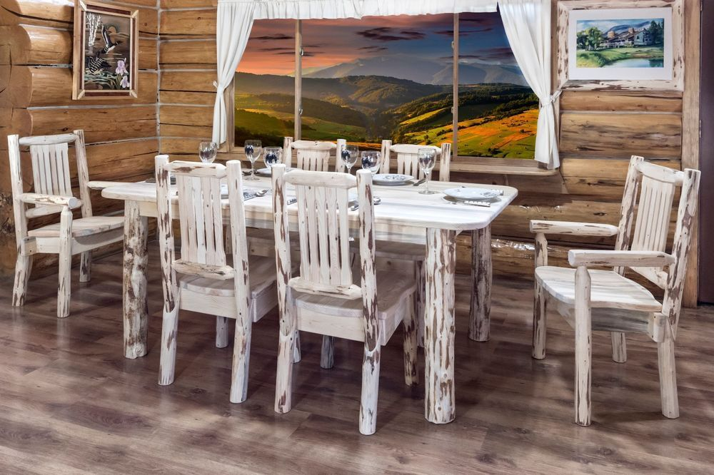 Beautiful Rustic LOG Kitchen Dining Set of a 6\u0027 Long Table and 6