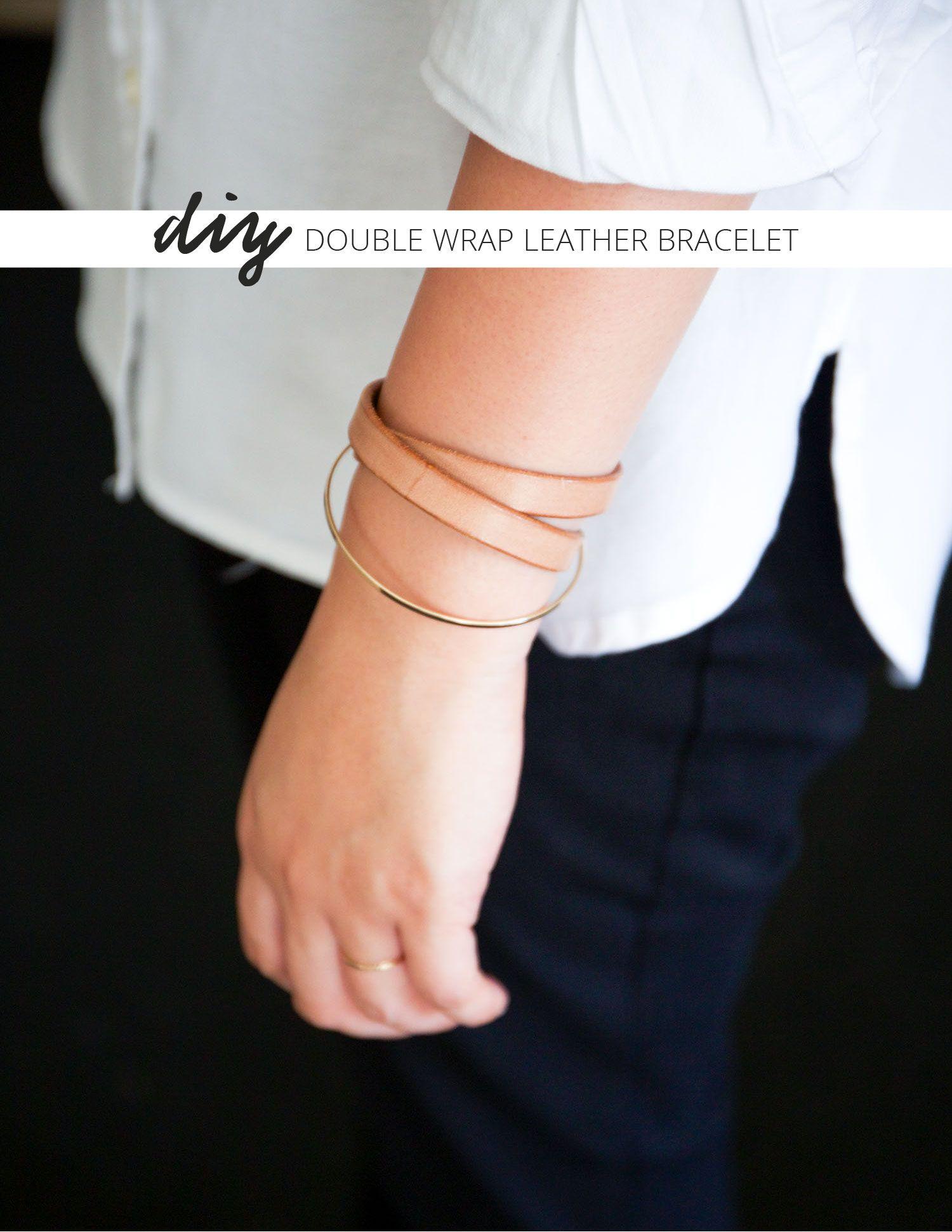 DIY Double Wrap Leather Bracelet w/ FREE printable pattern. ClothStory.com