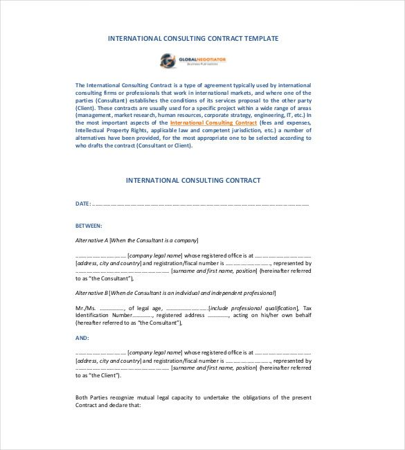 International Consulting Contract Template , 23+ Simple Contract - consulting agreement sample in word