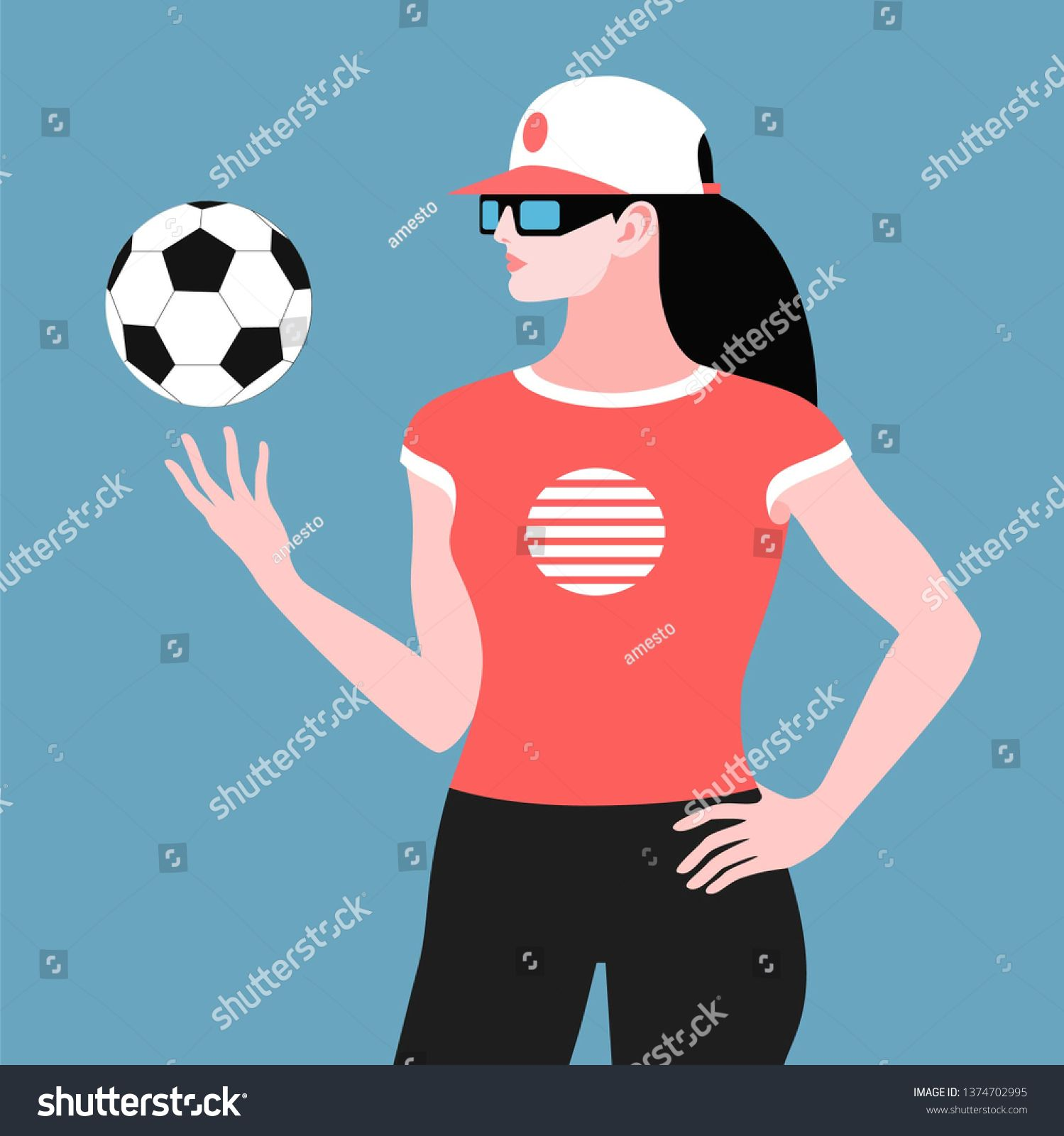 Young Woman In Baseball Cap Playing With Soccer Ball Fitness Coach Fitness Instructor Physical Education Teacher Or Football Fan G Futbolnyj Myach Illyustrator