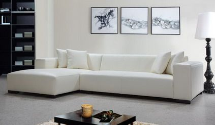 White Corner Sofa Sets Furniture With Abstract Wall Art In