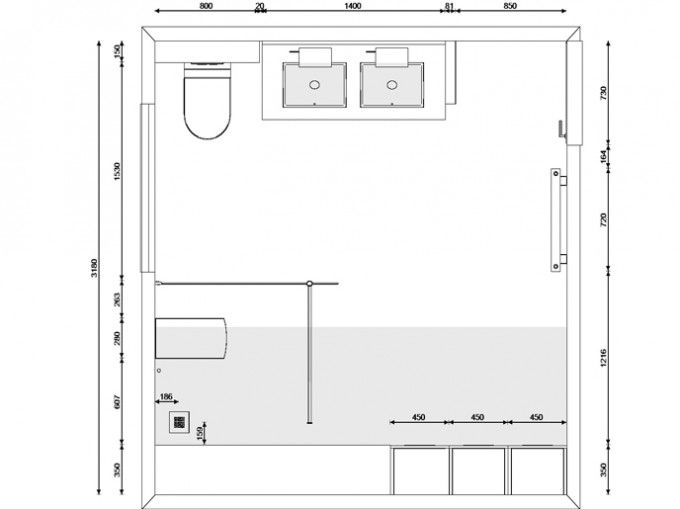 Grondplan badkamer ontwerp 3d ontwerpen badkamers for Badkamer tekenen 3d