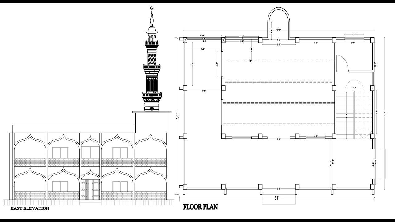 Mosque Floor Plan Elevation And Section Autocad Tutorials For Beginner Autocad Tutorial Mosque Design Mosque