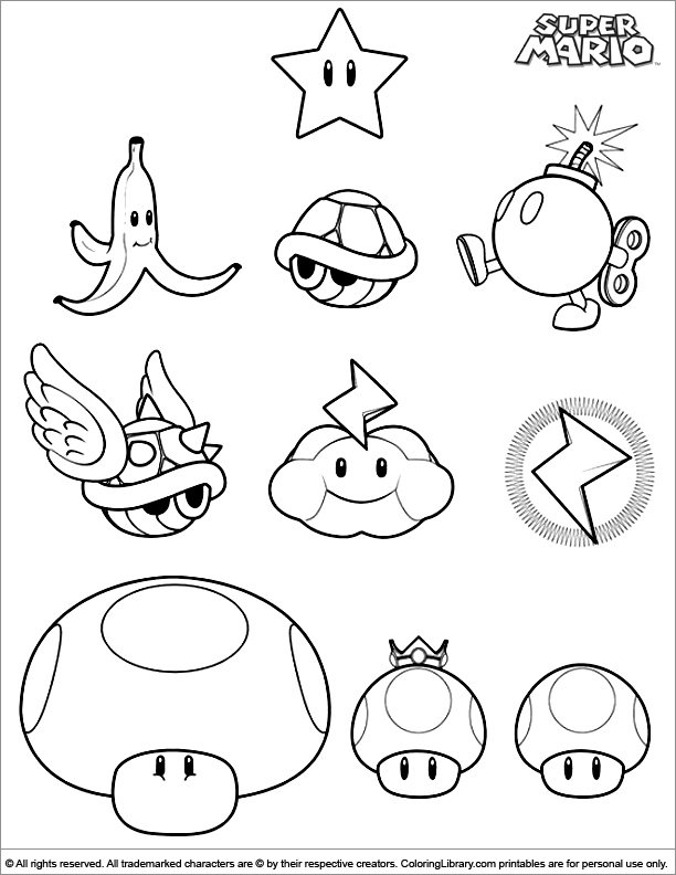 Super Mario Brothers coloring picture to use for pattern