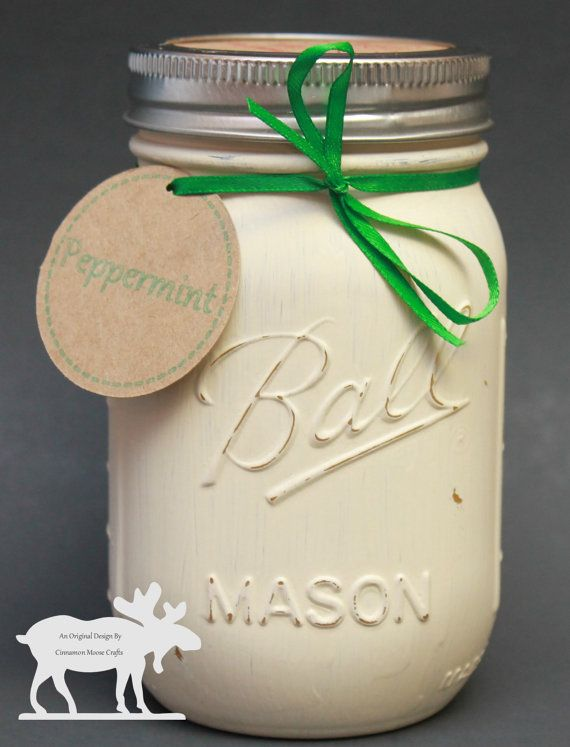 Peppermint Candle / Mason Jar Candle / by CinnamonMooseCrafts