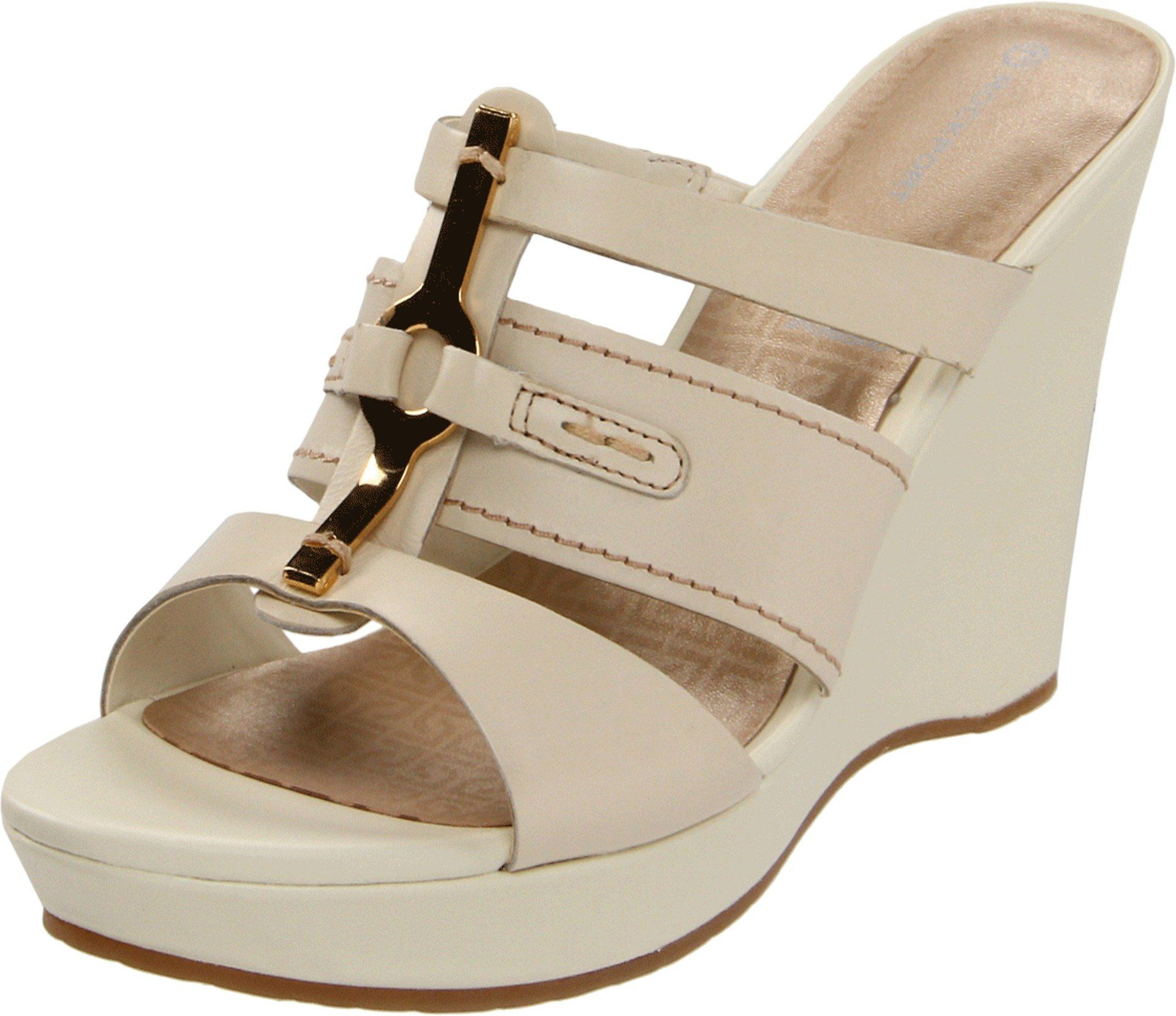 Rockport Women's Locklyn 3 Band Wedge Sandal, Cream, 9 M US. Full grain leather is durable and easy to clean^Breathable polyurethane cusioning for moisture absorption.