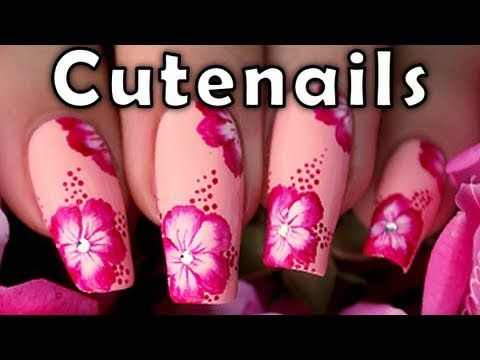 One Stroke Nail Art Pink Hibiscus Flower By Cute Nails Flower Toe Nails Pink Nail Art Nail Art Designs