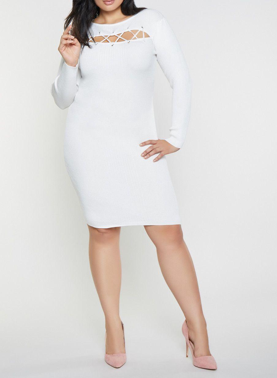 61e19c03931 Plus Size Lace Up Sweater Dress - White - Size 3X
