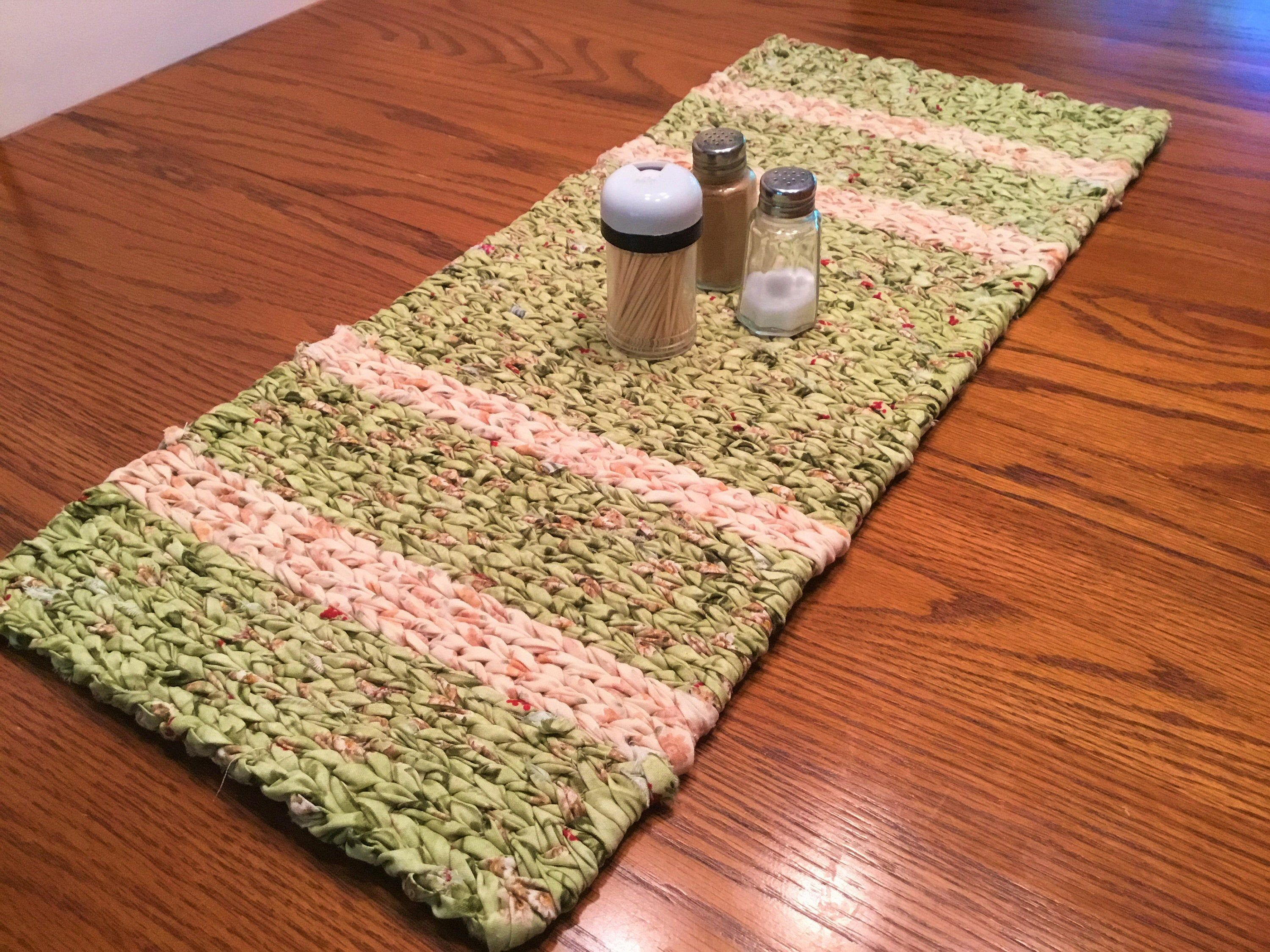 Handmade Twined Rag Rug Table Runner Country Chic Green Tan And Cream 100 Cotton Ready To Ship Washable In 2020 Rag Rug Table Runners Rugs