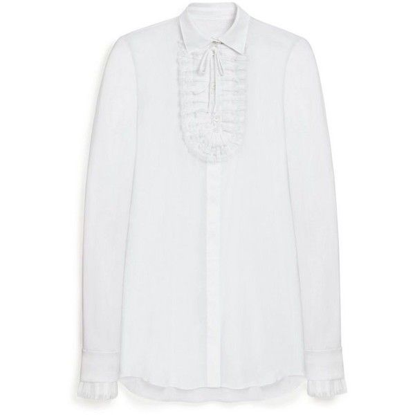 Mulberry Darcy Blouse (5 480 SEK) ❤ liked on Polyvore featuring tops, blouses, see through tops, ruffled shirts blouses, transparent blouse, transparent shirt and tailored shirts
