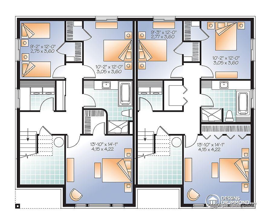 Détail du plan de Maison unifamiliale W3281-V1 House architecture - image de plan de maison