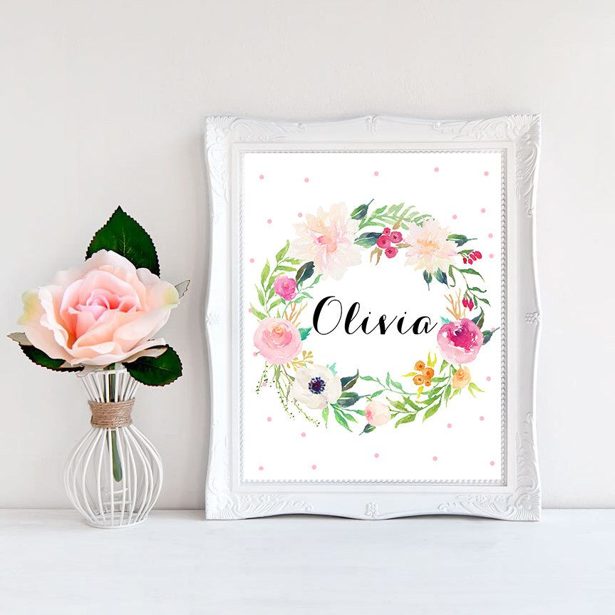 Diy Baby Nursery Floral Wall Decor: Baby Name Art, Baby Prints