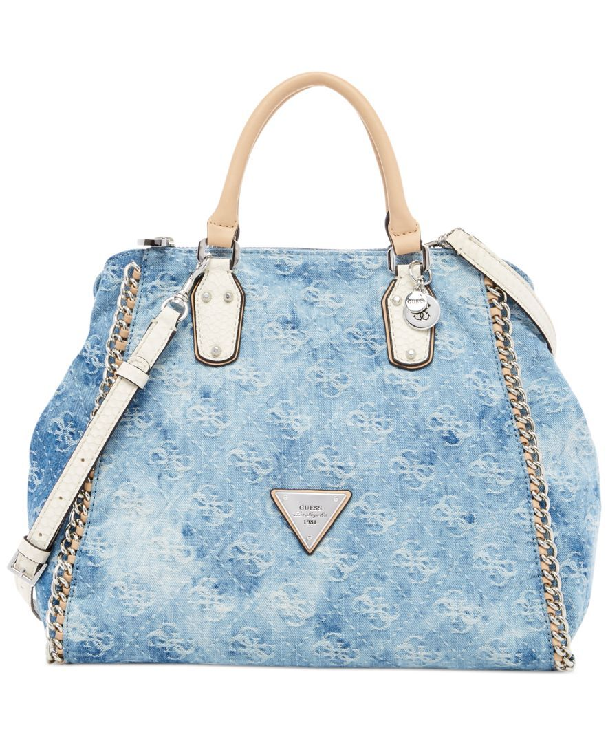 Handbag Accessories · Jean Purses · Shoulder Bag · Guess Amelle Denim  Signature Retro Medium Satchel cb93131954cf5