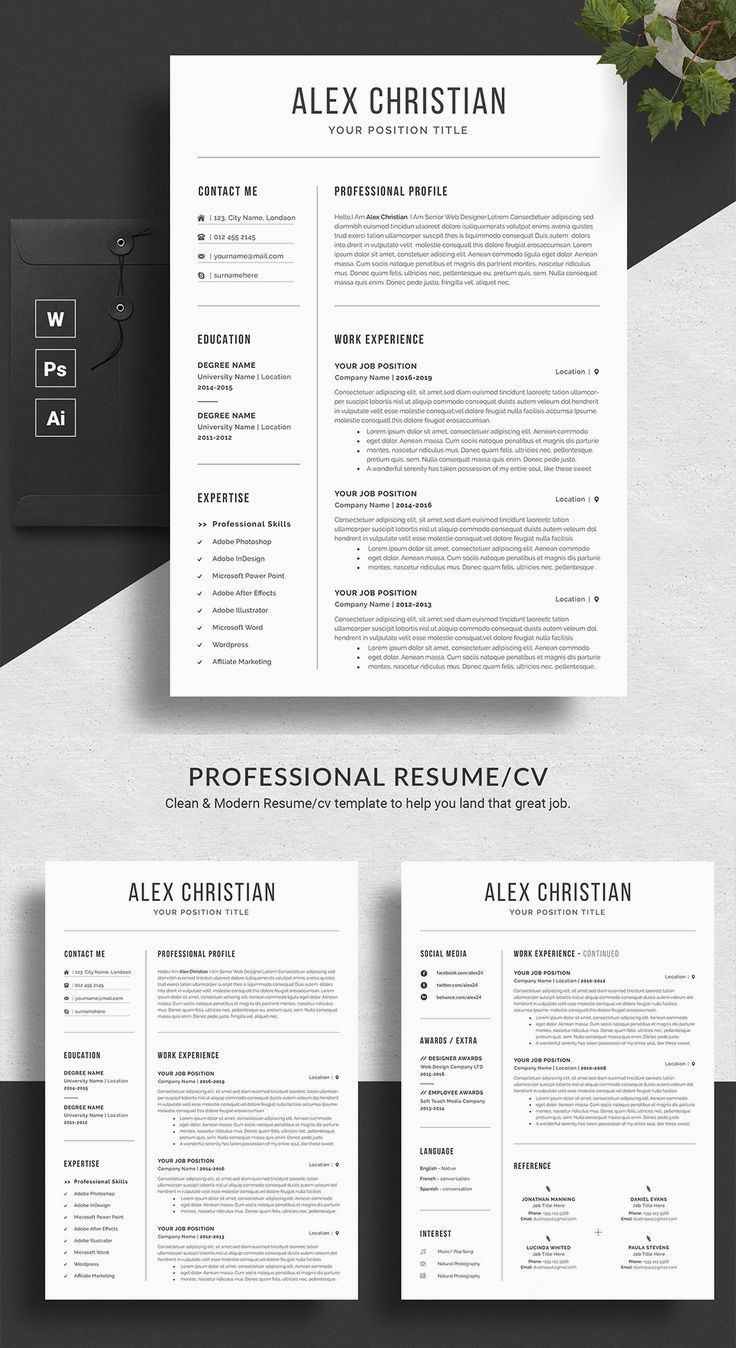 Modern Resume Template Professional Resume Template Resume