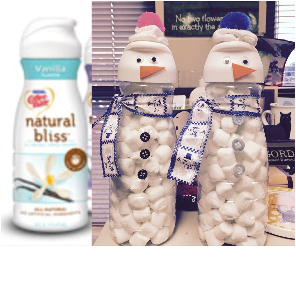 Recycled coffee creamer bottles used to make a snowman snack holder for little ones.