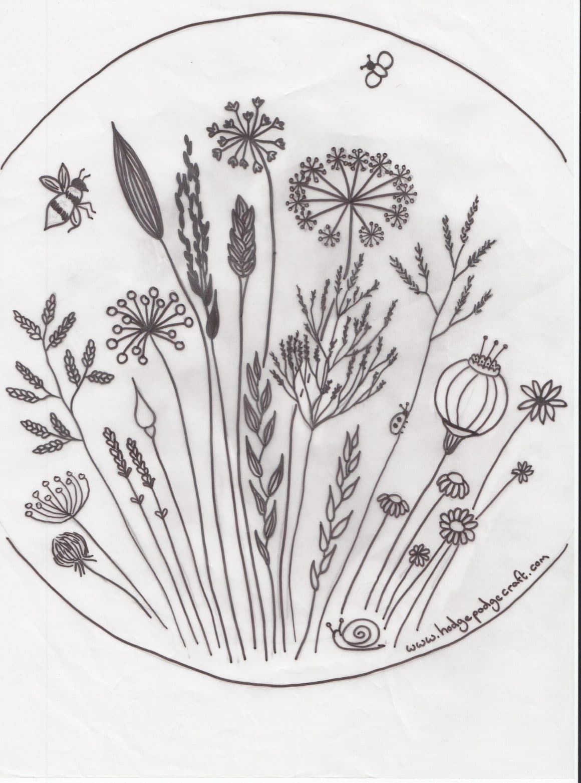 Free Floral Meadow Embroidery Pattern Embroidery Embroidery