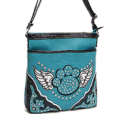 Western Dog Paw Print Wings Crossbody Handbag Messenger Bag Turquoise Learn More By