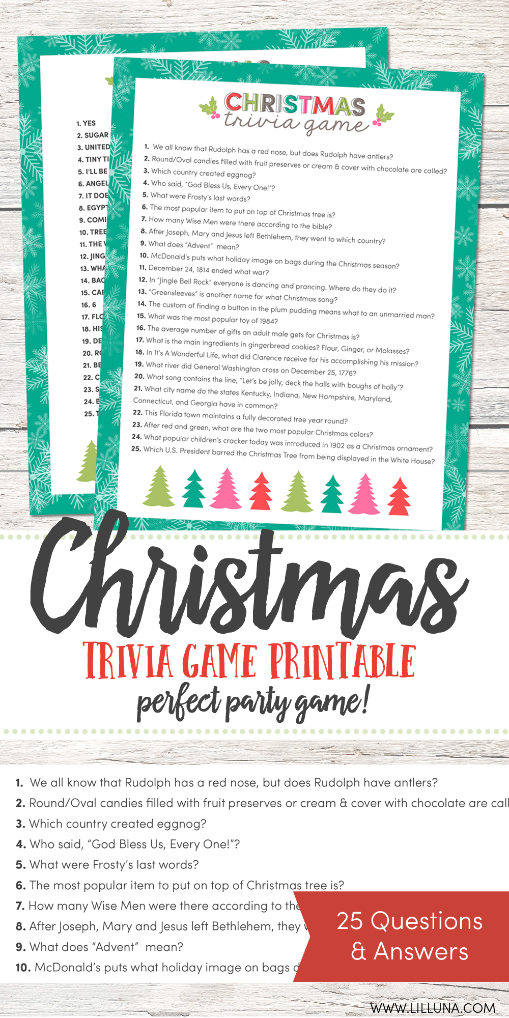 FREE Christmas Trivia Game just download, print and use