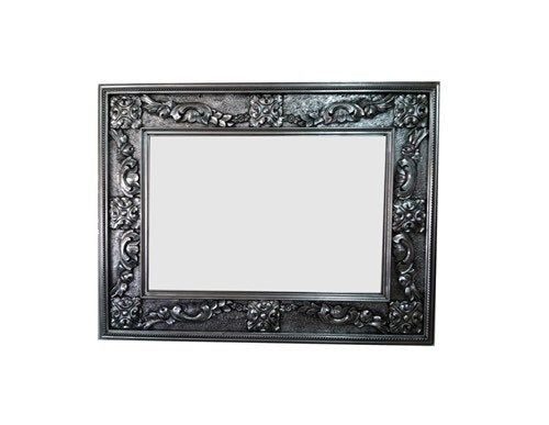 Baroque Wood Frame Original Handcrafted Mirror In Antique Silver Leaf With Black Wash In 2020 Framed Mirror Wall Large Picture Frames Wood Frame Construction