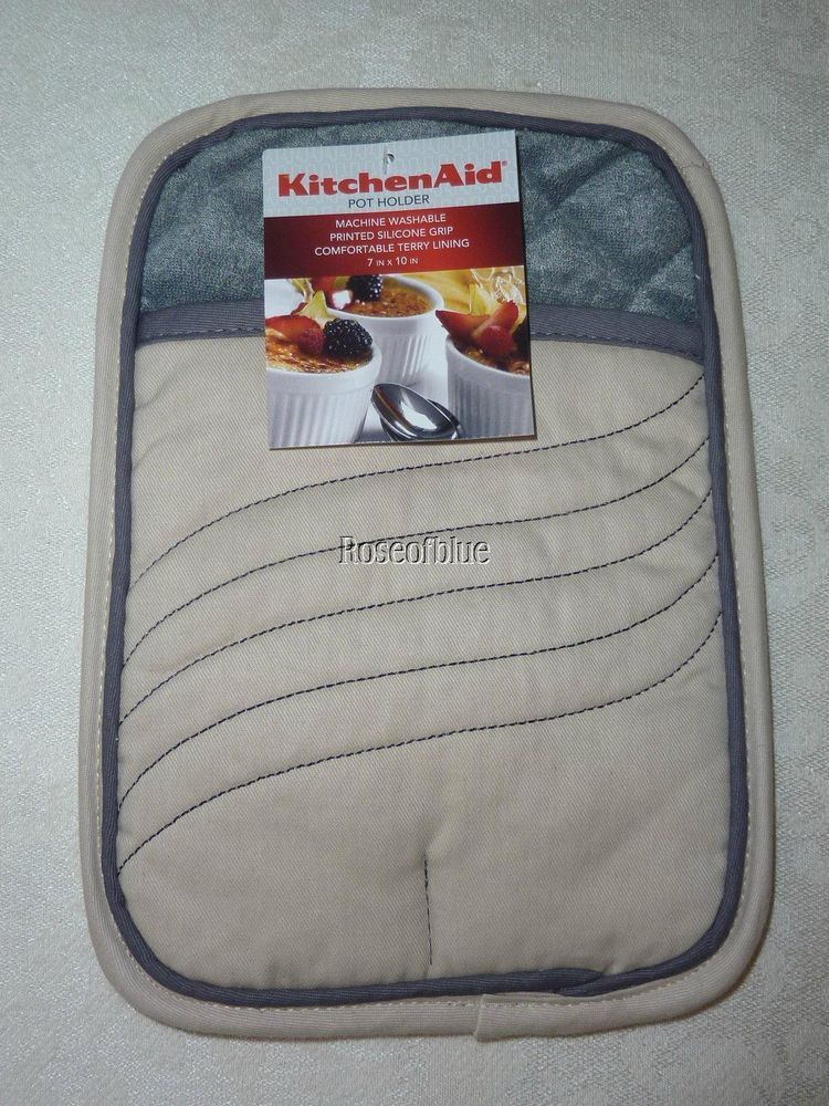 KITCHENAID POT HOLDER KITCHEN HOT PAD BBQ TAN SAND GRAY SILICONE NUBS  PROTECT #Kitchenaid