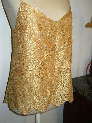 Anne Klein II Golden Floral Lace Tank Size 8 Petite Cami Sleeveless New Sparkle