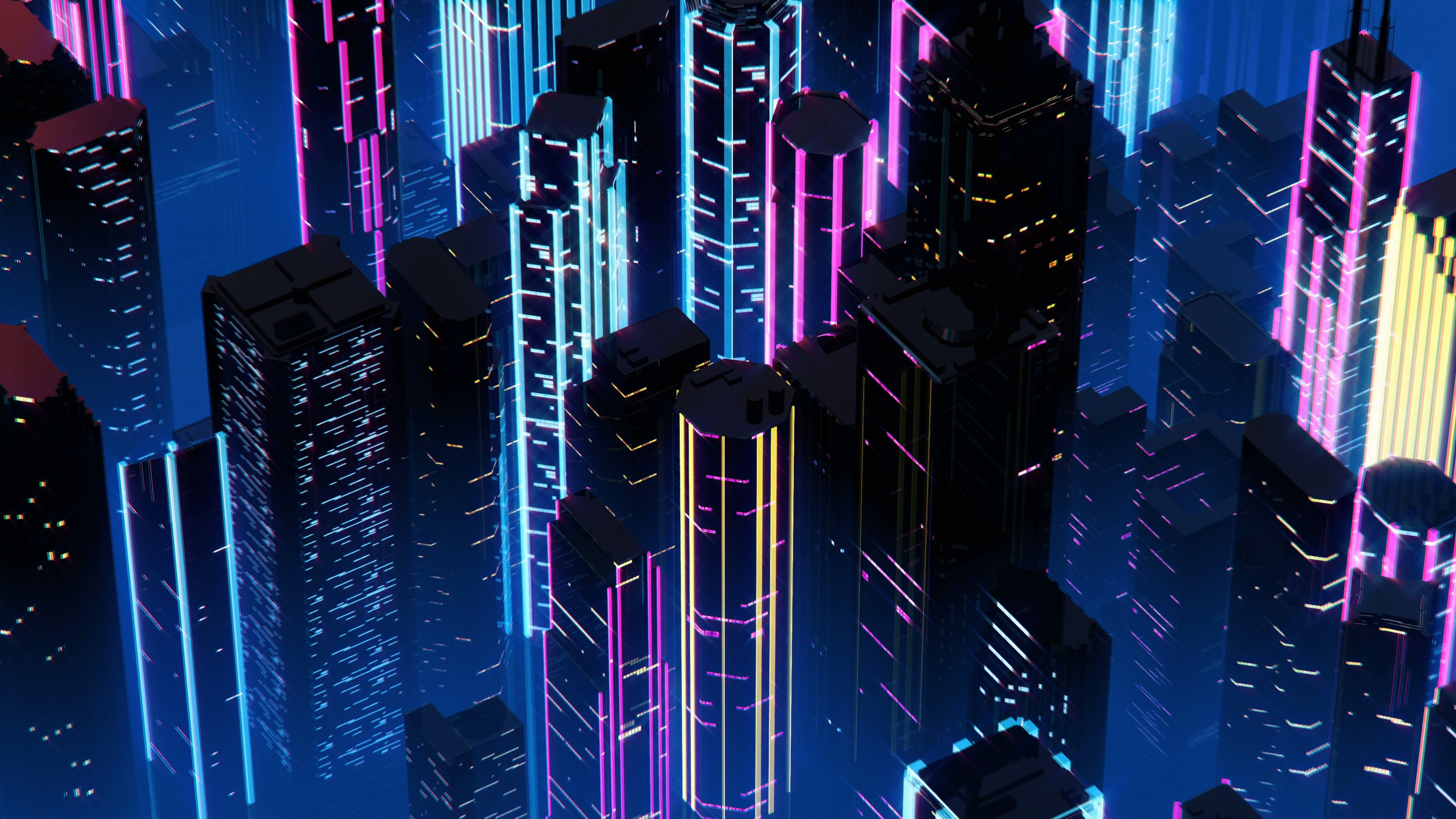 Skyscrapers With Neon Lights In Night City Synthwave Style 3d Animation Stock Footage Ad Night City Lights Skyscrape Neon Wallpaper City Wallpaper Neon Art