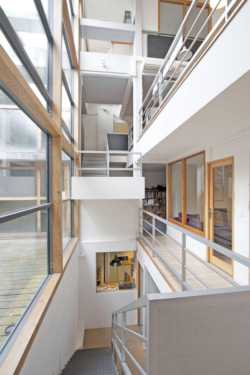 paris maison contemporaine avec jardin intrieur et terrasse