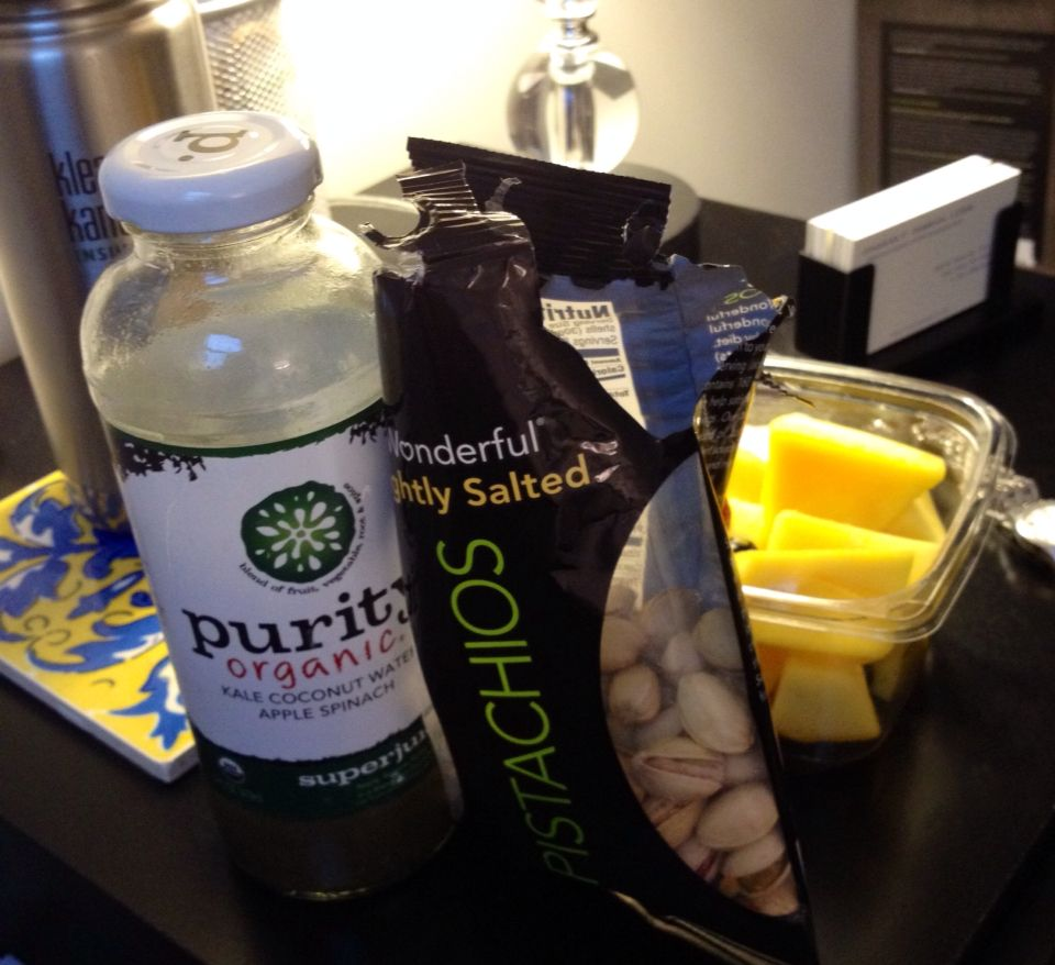not the prettiest... but here is a whole30 snack from duane reade: mango, pistachios, and a whole juice/coconut water.  i feel better after eating it.